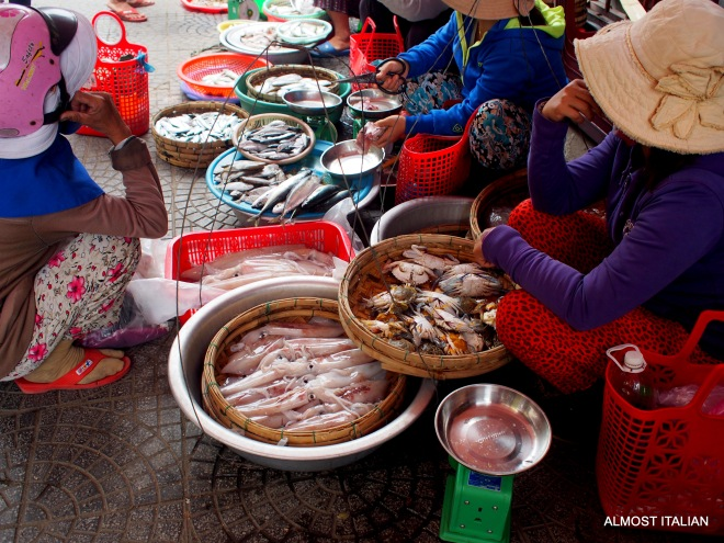 Small fish stall at Hoi An market. Mackeral is the best option in Asia