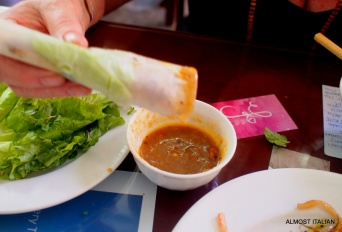 rolled, ready to dip and eat Banh Xeo.
