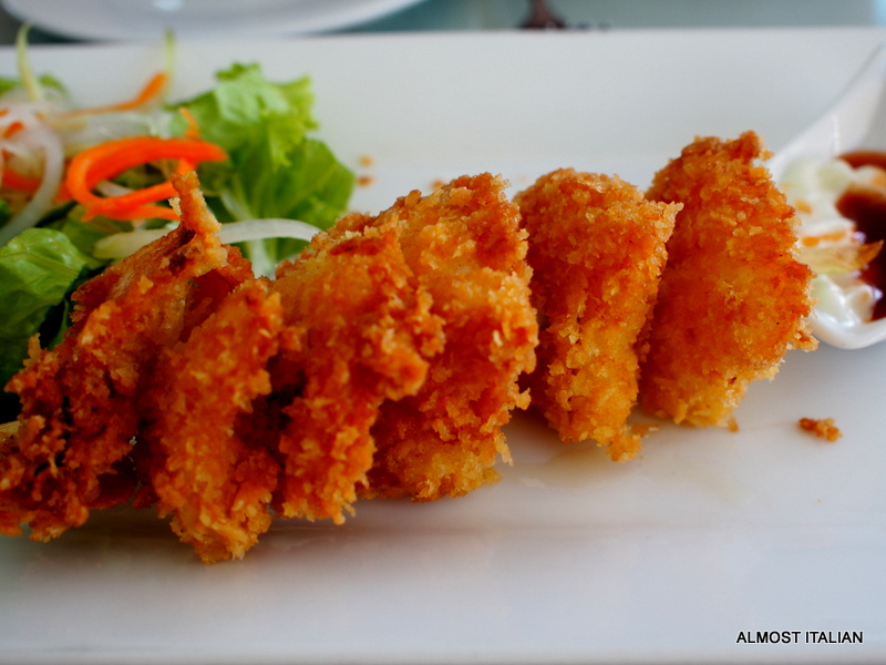 squid tempura entree with salad.