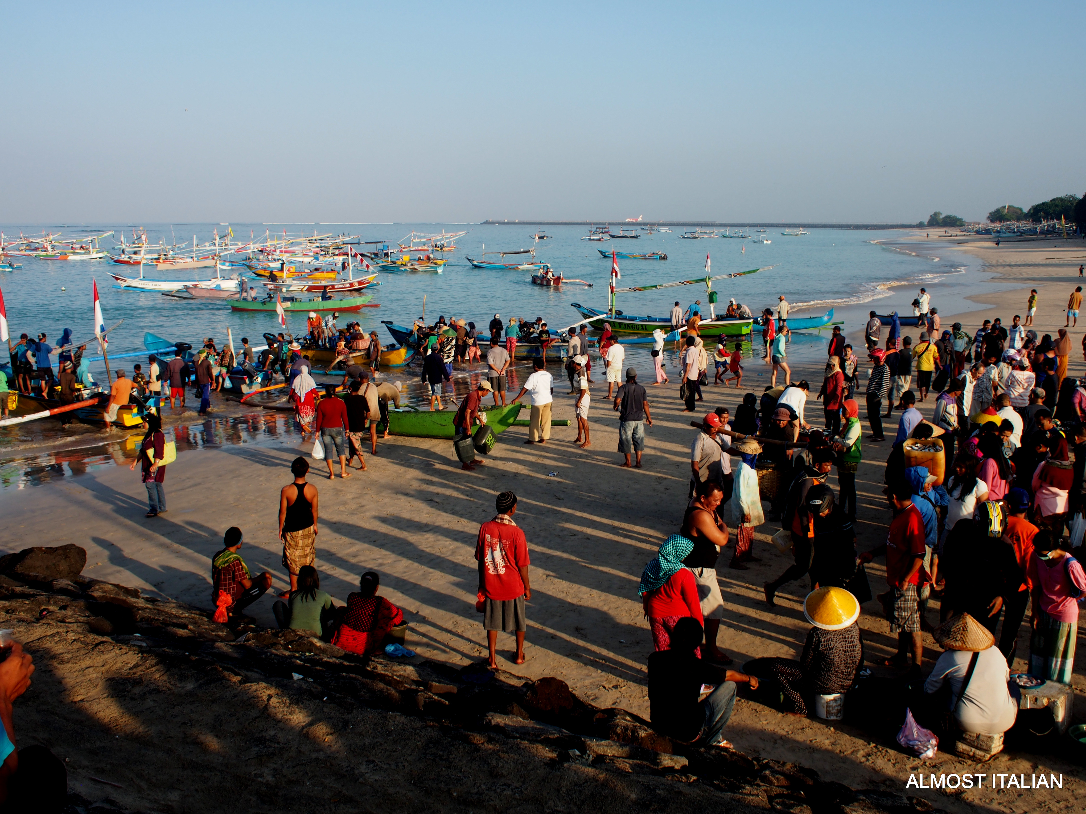 Crowds gather at the Jimbaran Fish Market.