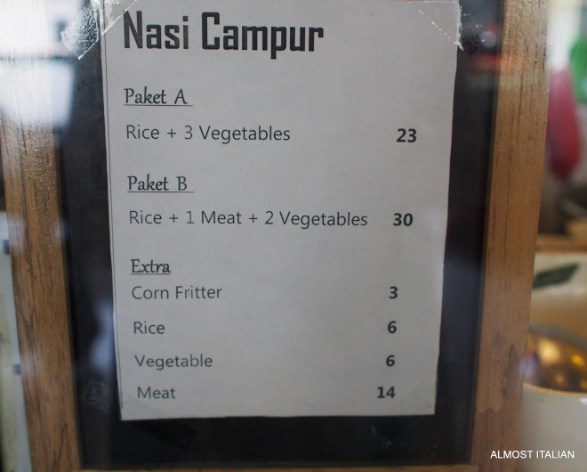 The Campur menu