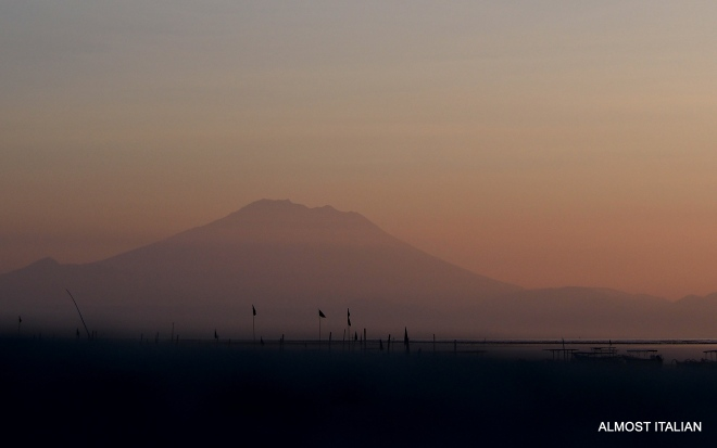 Guning Agung at dawn. Very rarely seen at any other time of the day.