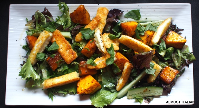 Haloumi and baked pumpkin salad