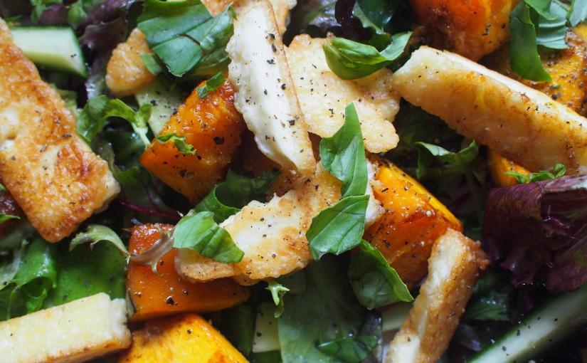 Home Again Recipes. Pumpkin and Haloumi Salad and Nasi GorengIkan