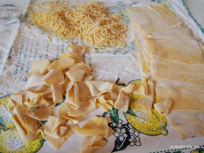An assortment of pasta shapes from one batch of dough.