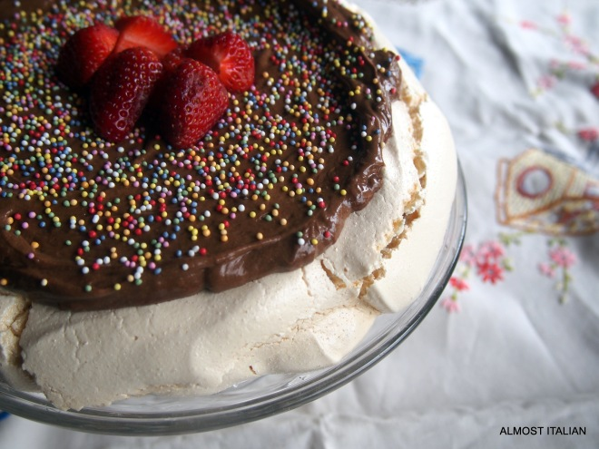 Pavlova filled with chocolate mousse.