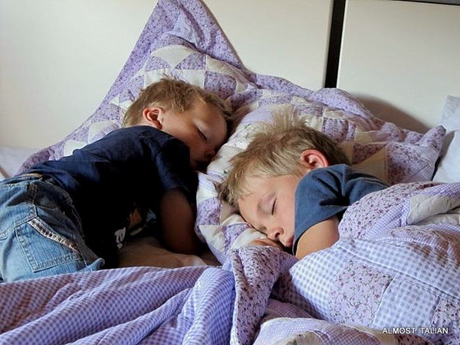 Children sleep, a picture of innocence and supreme love.
