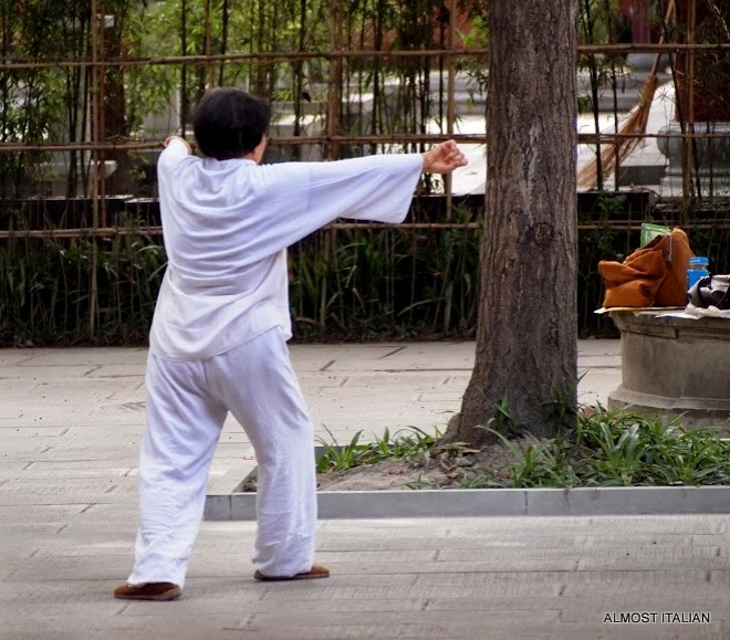 Moving Meditation. Enlightened practicioners of Tai Chi in Chengdu, China