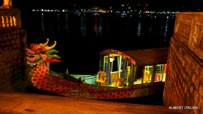DRagon boat ready for business on Perfume River, Hue