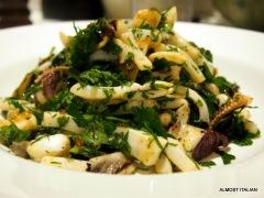 Grilled calamari, chilli, radicchio, parsley hot salad.
