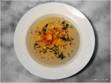 Corn chowder, grilled prawn, smoked pimenton