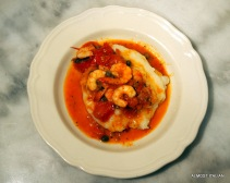 white polenta, chilli and garlic prawns, burnt butter capers