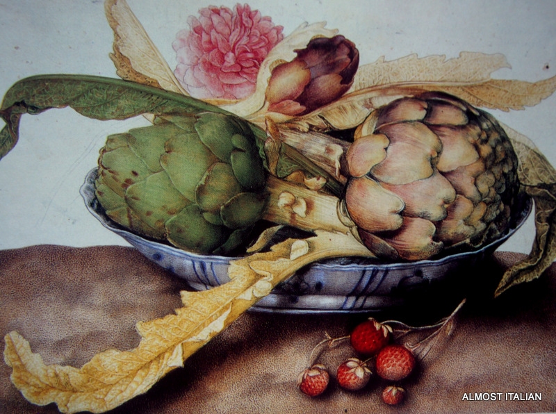 Chinese Dish with Artichokes, a Rose and Strwberrie. bypainting by Giovanna Garzon 1600- 1670.