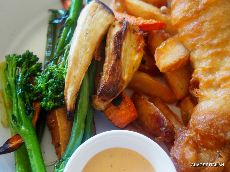 Fish and chips with a difference. Port arlington flathead, hand cut chips, baked vegetables and brocollini.