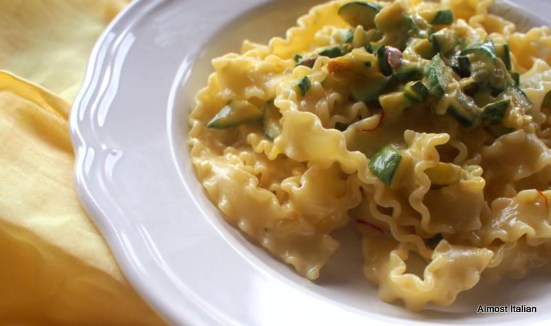 Mafaldine Pasta with Zucchini, Cream andSaffron