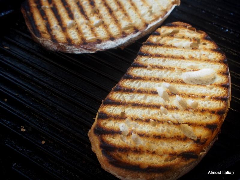 Grilling the bread for Bruschetta.
