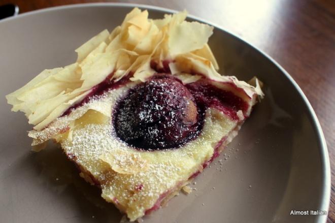 Filo pastry, semolina cream and plums.