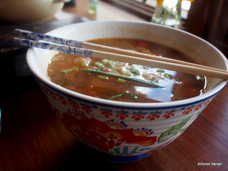 Vietnamese tomato and dill soup with fish.
