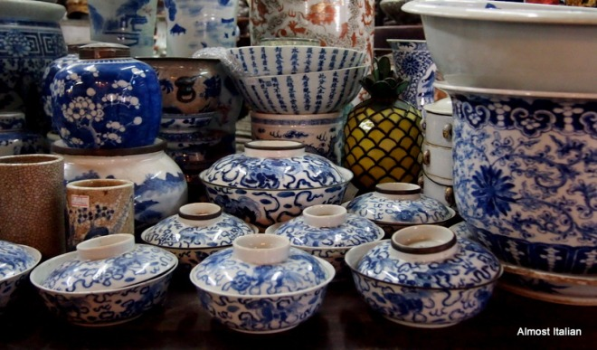 Beautiful matching blue and white ceramics.