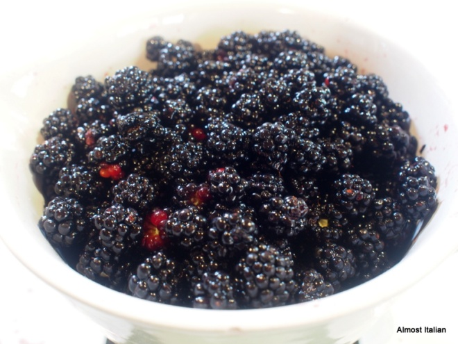 First bowl of blackberries. They are flushing every week.