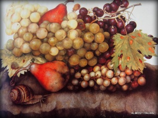 Grapes and Pears and a snail. Giovanna Garzoni, 1600-1670