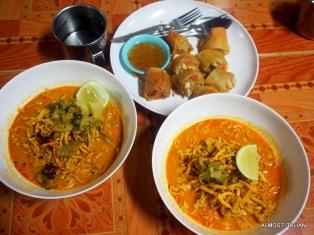 Khao soi and spring rolls, Ming Kwan. Chiang Mai