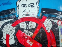 Badly graffitied piece on East Side Gallery