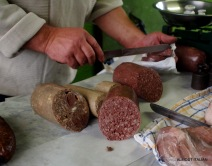 Blood and barley sausage. Home made in the mountains.