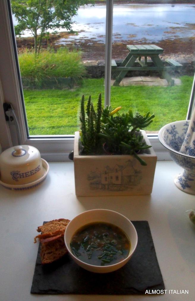 Lentil soup and bread