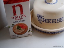 Nairn's oatcakes and cheese- with wine.
