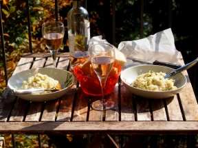 Risotto and vino, on our terrace.