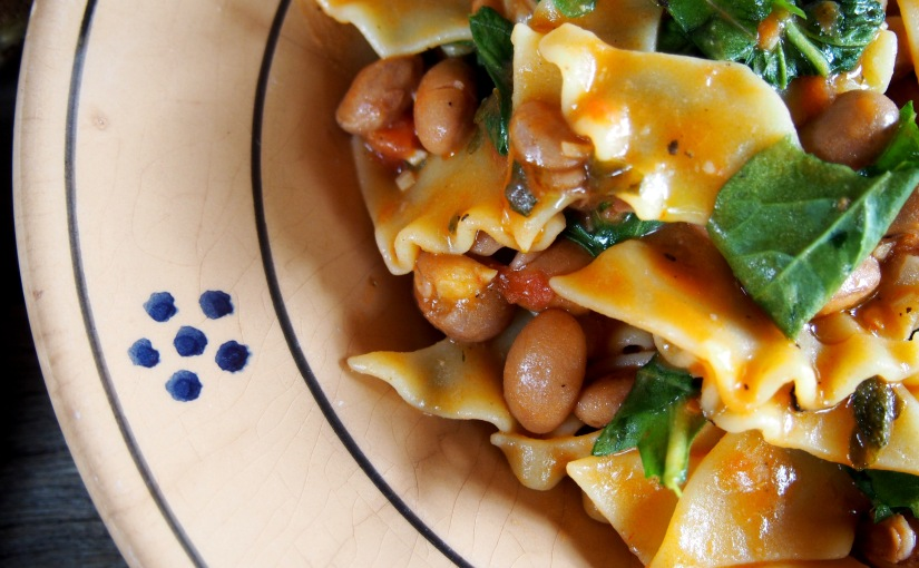 Pasta of the Week, Pantacce and Borlotti Beans with Rugola. I Can't Believe it'sVegan