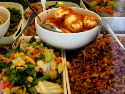 Tasty selection for nasi campur