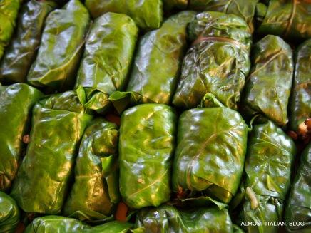 Stuffed silver beet rolls
