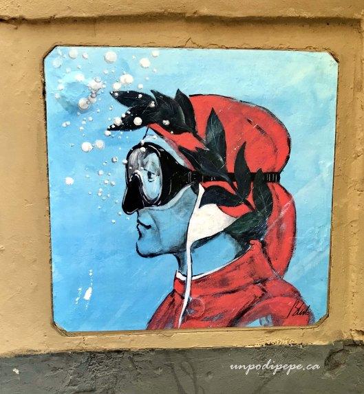 Blub street art Firenze Dante l'arte sa nuotare