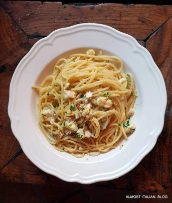 Saffron pasta, gold band snapper, garlic, chilli oil.