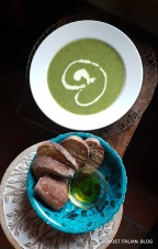 Zuppa del giorno. Celery and spinach crema with a Michael Leunig face.