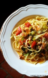 linguini with mussels, fennel and saffron. Recipe by Karen Martini.