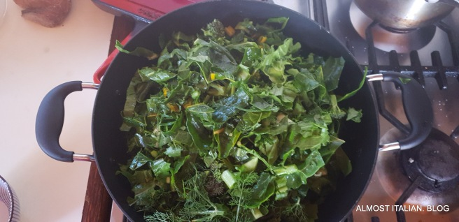 Picked greens for a Pizza di Verdure Pugliese.